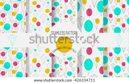 Set of seamless patterns with diamonds and other crystals . Stylish modern minimalist backgrounds. Precious stones and circles. Abstract background. Vector illustration - stock vector