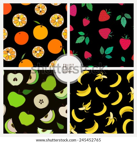 set of seamless patterns with fruits: orange strawberry, apple, banana - stock vector