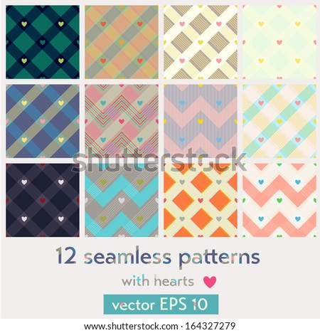 Set of 12 seamless patterns with hearts. EPS 10 vector iluustration. Contains no transparency and blending modes. Each pattern is isolated on a separate layer. - stock vector