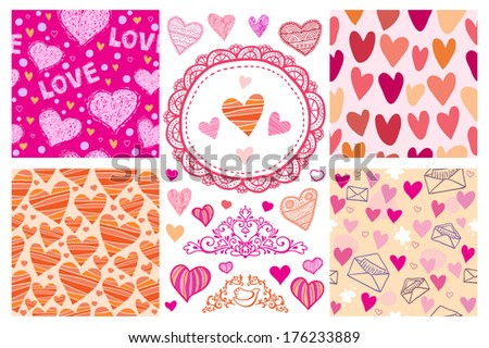 Set of 4 seamless patterns with hearts + some hearts and other nice details - stock vector