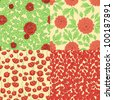 Set of seamless patterns with red flowers - stock vector