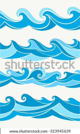 Set of seamless patterns with stylized waves blue shades