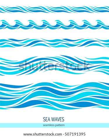 Set of seamless patterns with stylized waves vintage style