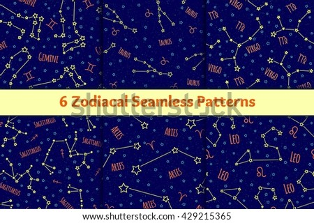 Set of seamless patterns with the image of the zodiac signs and constellations. Vector collection of blue backgrounds zodiac Gemini, Taurus, Virgo, Sagittarius, Aries, Leo starry sky. - stock vector