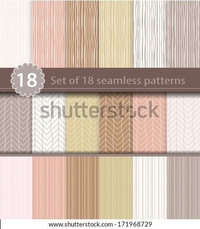 Set of 18 seamless patterns, wood, line art design - stock vector