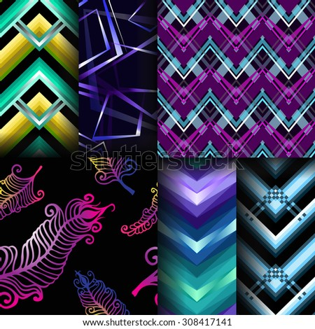 Set of 6 seamless patterns. Zigzag bright shining backgrounds. Ornament with feathers. Multicolor decorations. Modern design. - stock vector