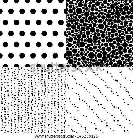 Set of seamless polka dot vector patterns - stock vector