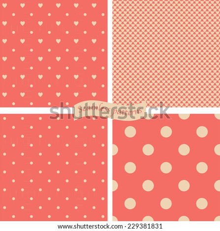 set of 4 seamless polka dots patterns on retro red background - stock vector