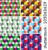 Set of seamless prismatic patterns imitating three dimensional cubes - stock photo