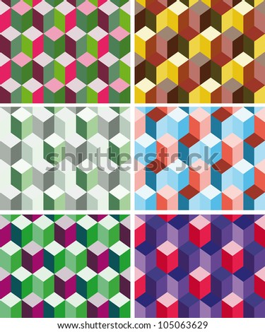 Set of seamless prismatic patterns imitating three dimensional cubes - stock vector