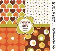 Set of seamless retro background patterns in orange and brown. Great for Birthday, Thanksgiving, Greeting Cards, scrapbook, surface textures. See my folio for  JPEG version and for other colors. - stock vector