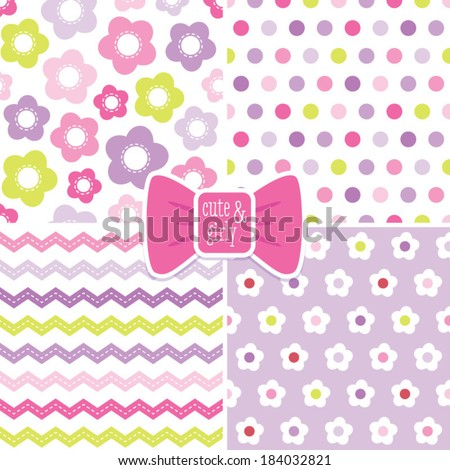 Set of seamless retro background patterns in pink and purple for baby, Mother's Day, Easter, gift wrapping paper. - stock vector