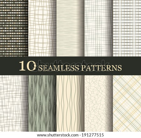 set of 10 seamless retro  patterns - stock vector