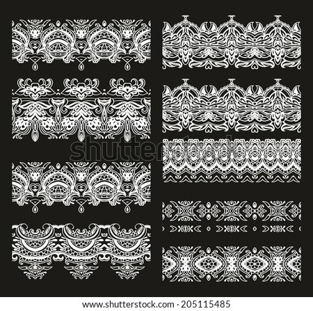Set of seamless ribbons samples for decoration - stock vector