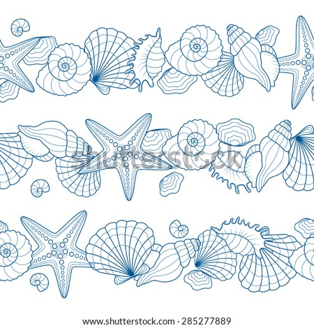 Set of seamless ribbons with seashells and starfishes. Abstract vector summer seamless background on a sea subject. - stock vector