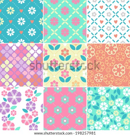 Set of seamless simple flowers patterns. - stock vector