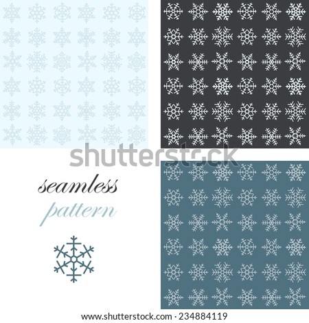 Set of seamless simple patterns of different light blue geometric snowflakes on light background