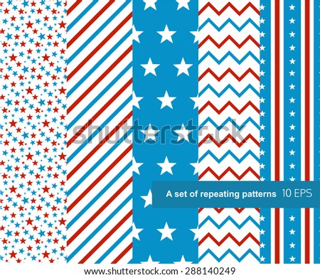 Set of seamless star and striped patterns for US Independence Day.