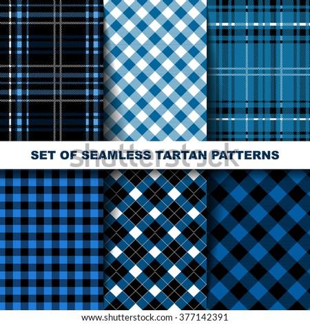 Set of seamless tartan patterns. Blue version. Vector illustration. Great background for your design. - stock vector