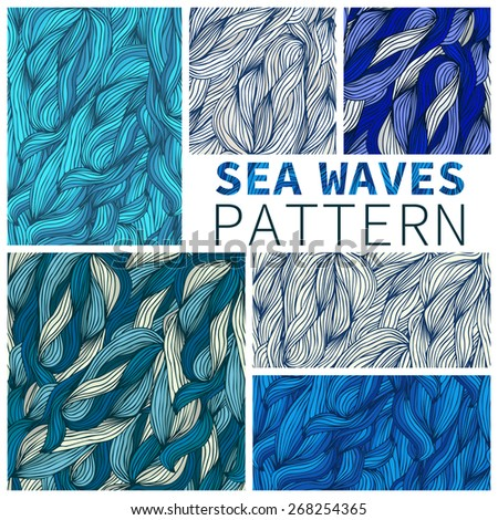 Set of seamless textures sea waves - stock vector