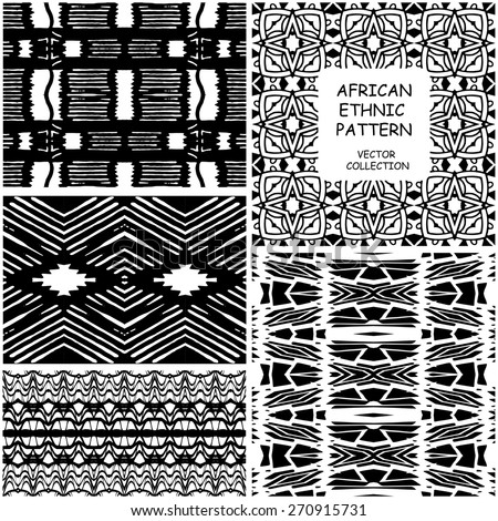 Set of seamless trendy African Ethnic original  patterns. Tribal  Vector backgrounds collection can be used for wallpaper, pattern fills, web page background, surface textures, wrapping paper.  - stock vector