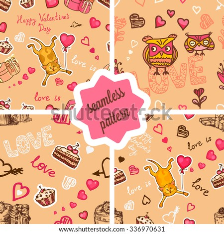 Set of seamless valentine backgrounds with cute cat and owls. Use it for childrens wallpaper, gift wrapping, prints for baby clothes, prints for bedclothes, greeting cards, Valentines Day design. - stock vector