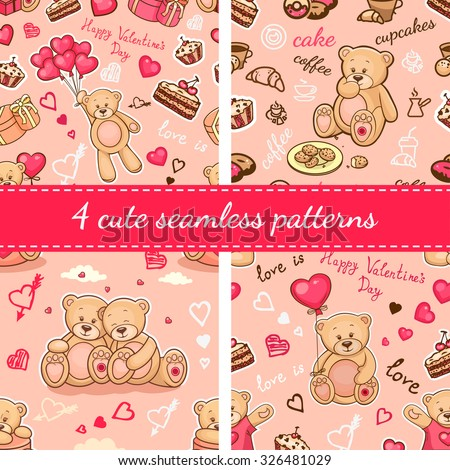 Set of seamless valentine backgrounds with teddy bears. Use it for children's wallpaper, gift wrapping, prints for baby clothes, prints for bedclothes, greeting cards, Valentines Day design. - stock vector