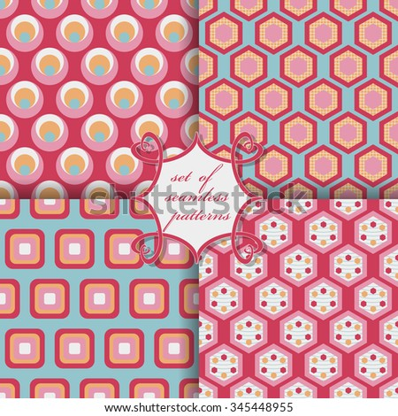 Set of seamless vector illustrations. Abstract decorative shapes