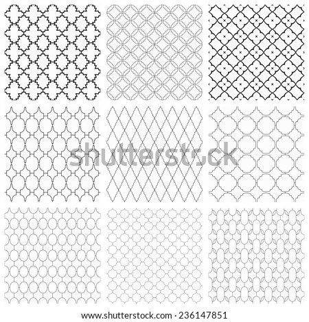 Set of seamless vector ornamental patterns. Black and white texture. - stock vector