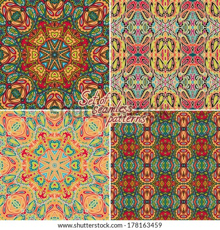 Set of seamless vector paisley patterns - stock vector