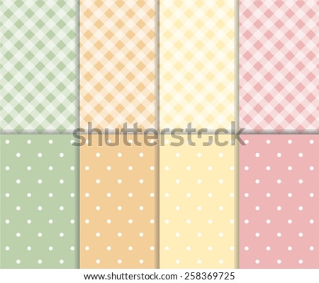 Set of seamless vector pattern. Colorful yellow, orange, pink and green background with white polka dots and checkered texture. For web design, baby shower card, party, scrapbooks. Sweet autumn colors - stock vector