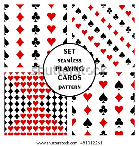 Set of seamless vector pattern with playing cards. Symmetrical backgrounds with red and black icons of game cards. Graphic illustration. Series of sets of vector seamless patterns.