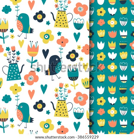 Set of seamless vector patterns: spring, birds, flowers. Creative Hand Drawn textures. For wedding, anniversary, birthday, Valentin's day, party invitations. Turquoise, peach, blue, yellow.