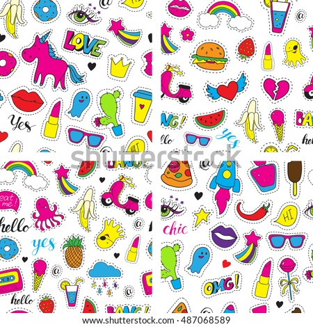 Set of seamless vector patterns with bright fashion patch badges. Hand drawn funny stickers. Modern doodle pop art sketch and inscriptions. Cute pins and icons in cartoon 80s-90s comic style.