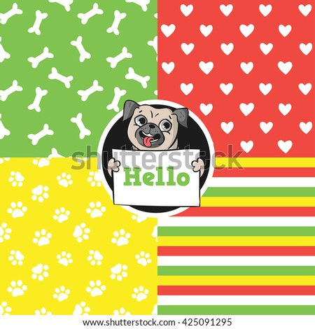 Set of seamless vector patterns with funny pug. - stock vector