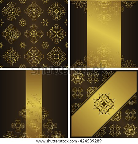 Set of seamless wallpaper and three luxury cards. Cards have gold decoration