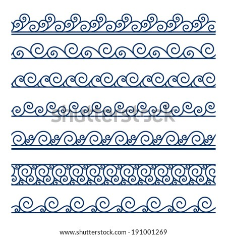 Set of seamless wavy borders on white, decorative vector wave ornaments - stock vector