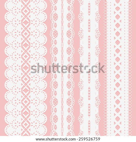 Set of seamless white lace ribbons on a pink background for scrapbooking. Vector illustration - stock vector