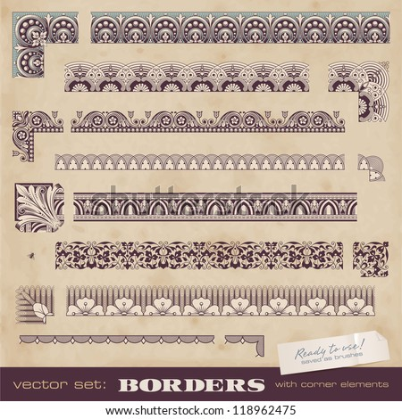 set of seamlessly tiling borders for certificates or similar documents - stock vector