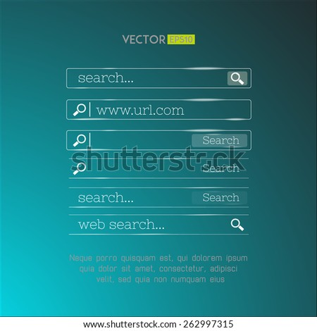 Set of search bars made in shiny simple glassy design. Web interface browse fields collection. Vector illustration - stock vector