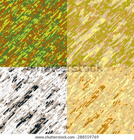 Set of 4 season modern camouflage seamless patterns vector - stock vector