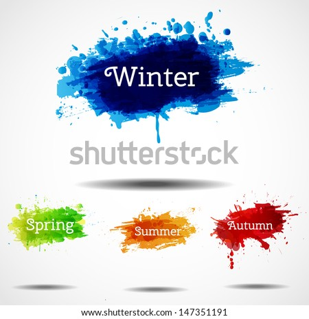Set of season vector backgrounds with bright splashes for your design. Vector illustration - stock vector