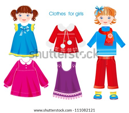 set of seasonal clothes for girls - stock vector