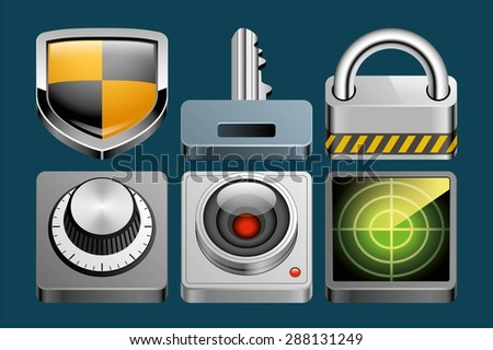Set of Security icons - stock vector