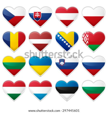 Set of Selected European Flags