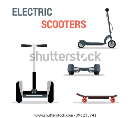 Set of self-balancing electric scooters isolated on white. Vector illustration, flat style - stock vector