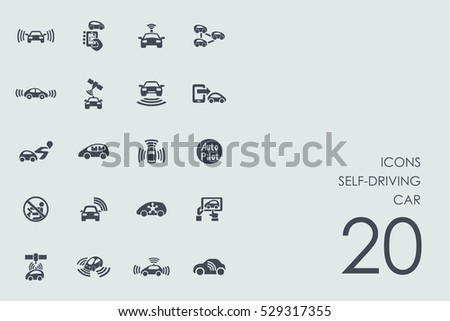 Set of self-driving car icons