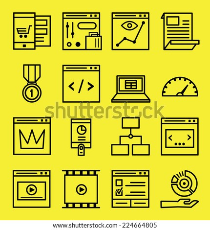 Set of seo and internet service icons. Outline style - part 1 - vector icons - stock vector