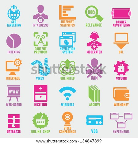 Set of seo and internet service icons - part 5 - vector icons - stock vector