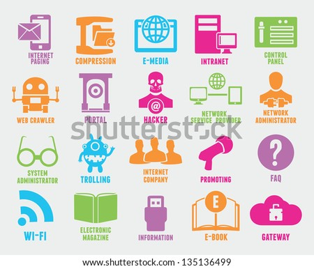 Set of seo and internet service icons - part 6 - vector icons - stock vector